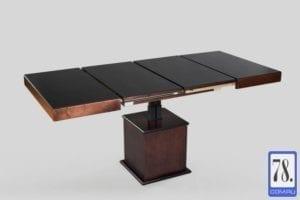 Стол-трансформер Optimata 302 SJ, черное стекло, каркас венге классика №13 - установка вставок.