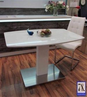 Стол раскладной обеденный B2469 белое стекло