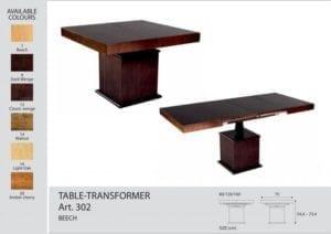 Стол-трансформер Optimata 302 (столешница без стекла), венге классика №13
