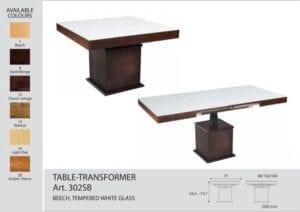 Стол-трансформер Optimata 302 SB, белое стекло, венге классика №13