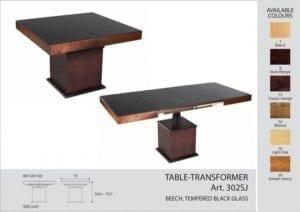 Стол-трансформер Optimata 302 SJ, черное стекло, венге классика №13