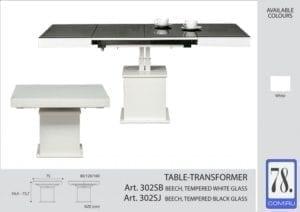 Стол-трансформер Optimata 302 SJ черное / 302 SB белое стекло, белый корпус